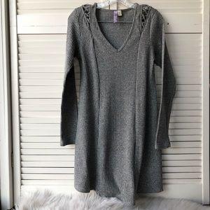 Alya grey rib knit long sleeve dress size M